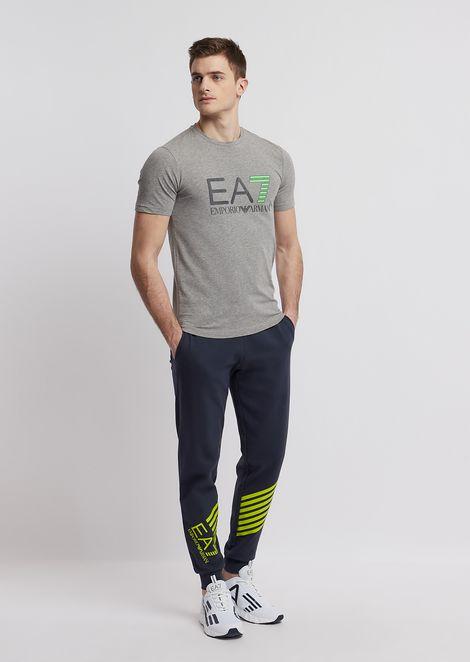 T-Shirt aus Baumwollstretch mit EA7-Logo
