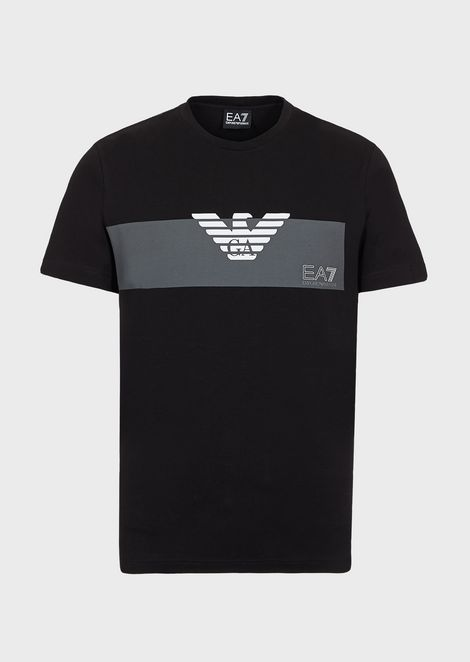 Train Graphic stretch cotton T-shirt with logo print