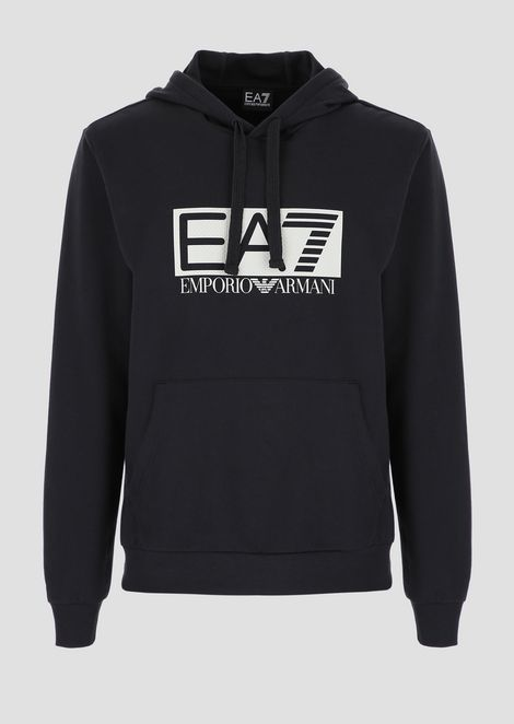 Hooded sweatshirt with EA7 logo print