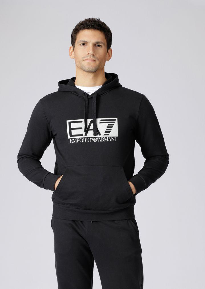 44f33434bb55 Hooded sweatshirt with EA7 logo print