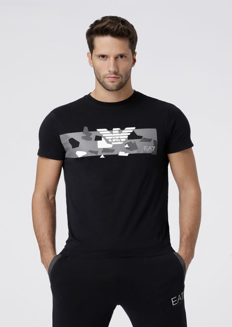 Pure cotton T-shirt with camo logo