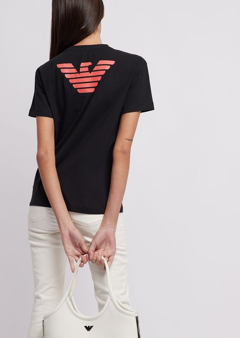 Jersey T-shirt with logo on the front and eagle on the back