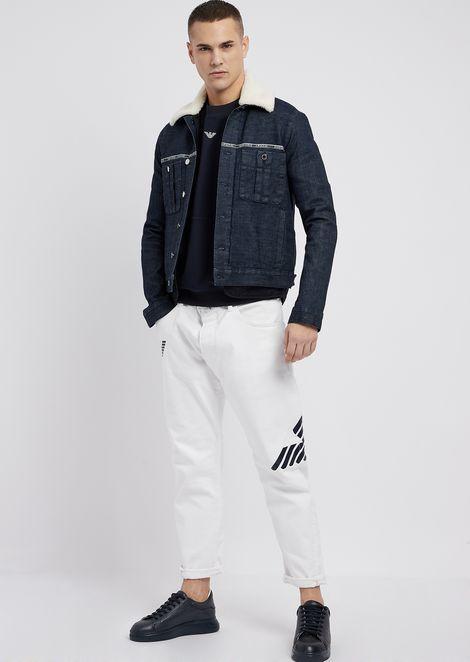 Cotton interlock sweatshirt with Emporio Armani logo