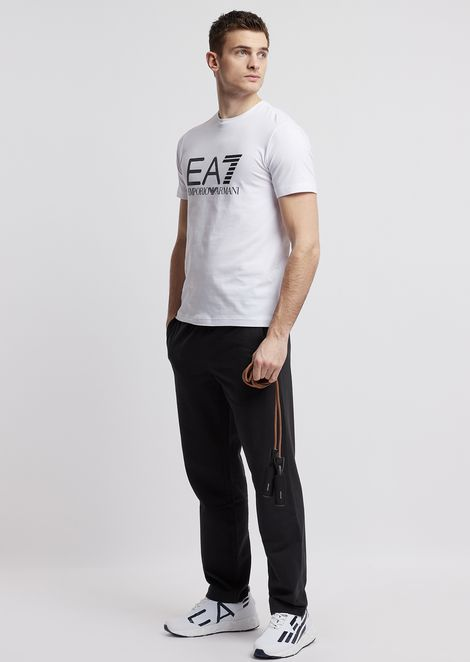 T-shirt en coton stretch avec logo EA7