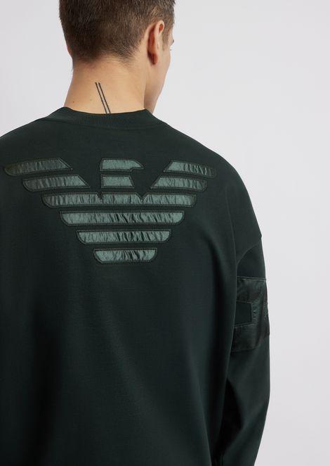Felpa in interlock di cotone con logo Emporio Armani
