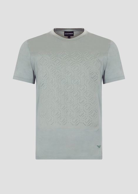 Mercerized cotton jersey T-shirt with embossed print
