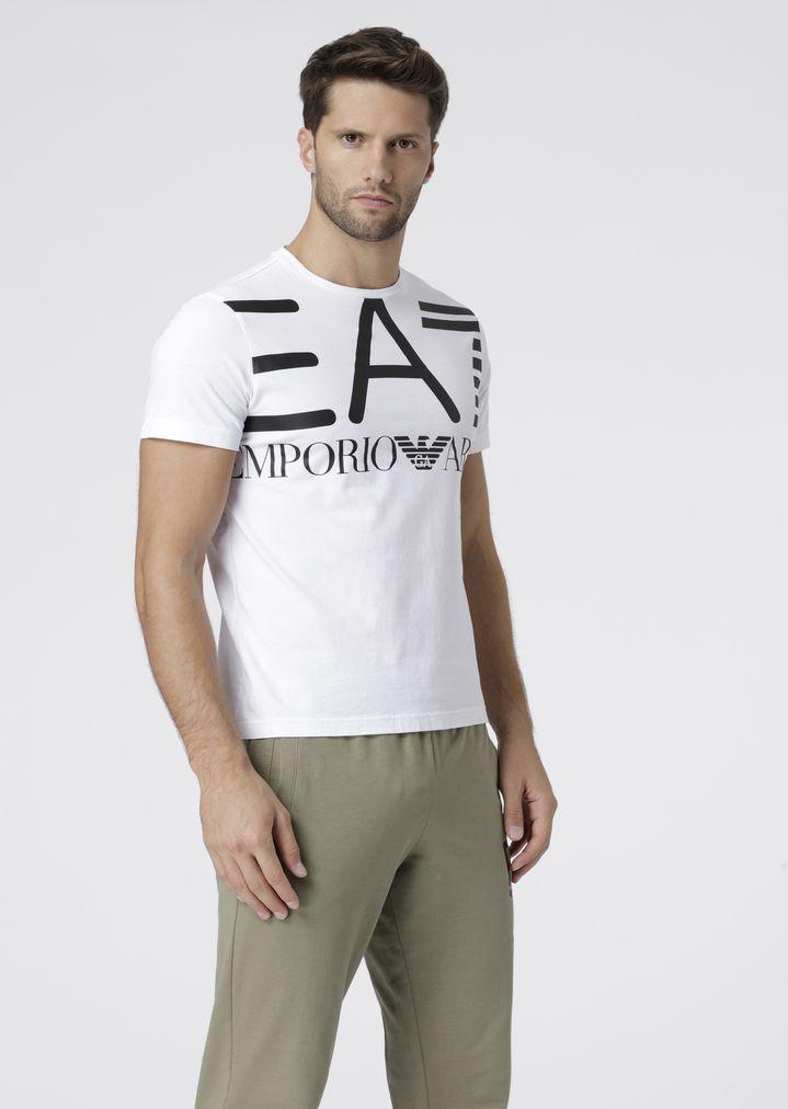 0430780de Cotton T-shirt with EA7 maxi logo print