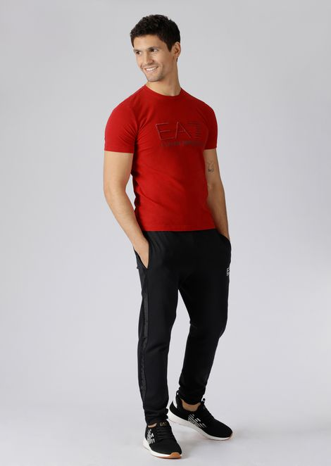 Stretch cotton T-shirt with EA7 logo