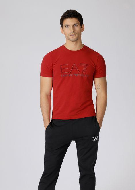 T-shirt in cotone stretch con logo EA7