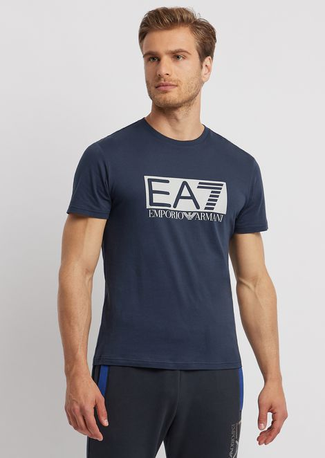 8cf8ad2eed17 Stretch cotton T-shirt with EA7 logo print