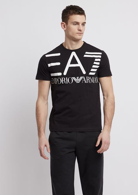 Cotton T-shirt with EA7 maxi logo print