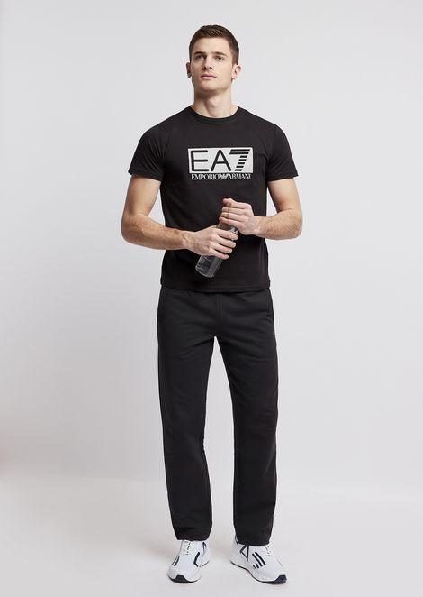 T-shirt en coton stretch avec imprimé logo EA7