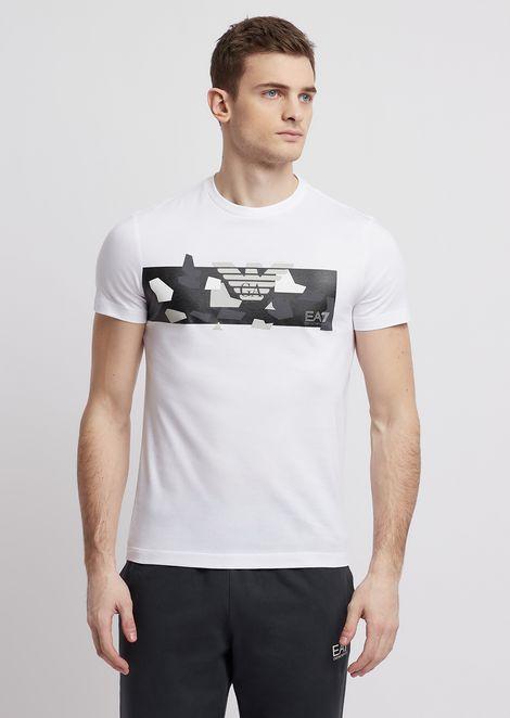 Camiseta de algodón puro con logotipo de camuflaje