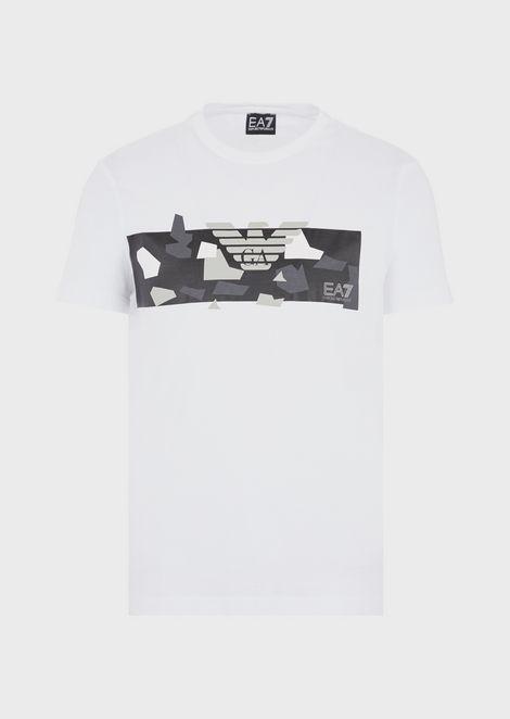 Pure cotton T-shirt with camo logo