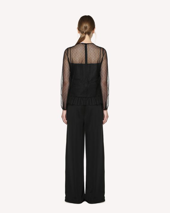 REDValentino Micro sequined Point d'Esprit Tulle top