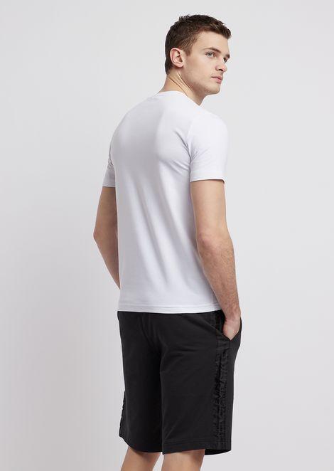 Camiseta de algodón elástico con logotipo EA7