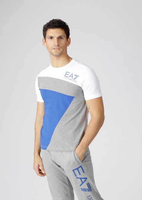 Stretch cotton colour block T-shirt with logo