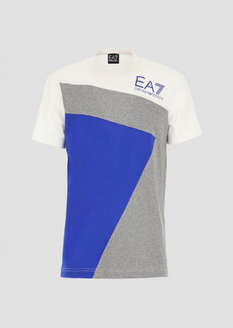 Stretch cotton color block T-shirt with logo