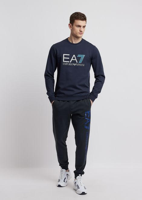 Train Logo Sweatshirt in pure cotton with EA7 logo