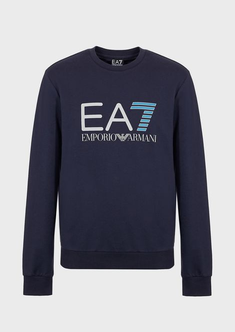 Train Logo Sweatshirt in pure cotton with EA7 logo