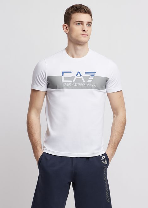Stretch cotton T-shirt with EA7 logo print