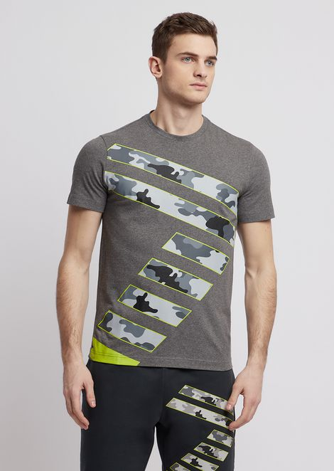 T-shirt in stretch cotton with camouflage logo
