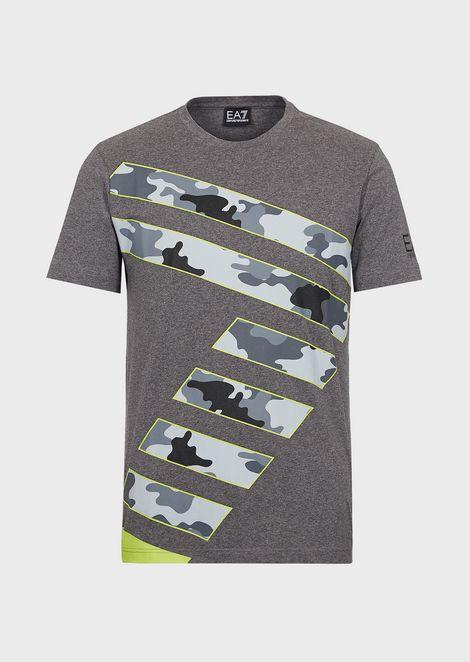 Camiseta de algodón elástico con logotipo en camuflaje