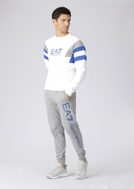 Multicolour cotton sweatshirt with EA7 logo