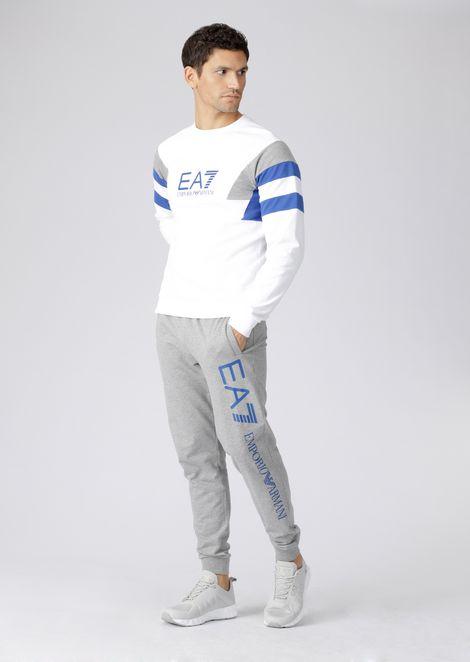 Multicolor cotton sweatshirt with EA7 logo
