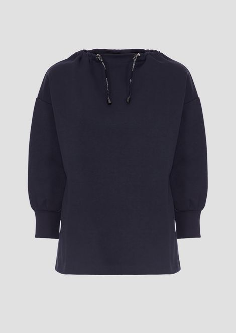 Interlock sweatshirt with neckline and logoed drawstring