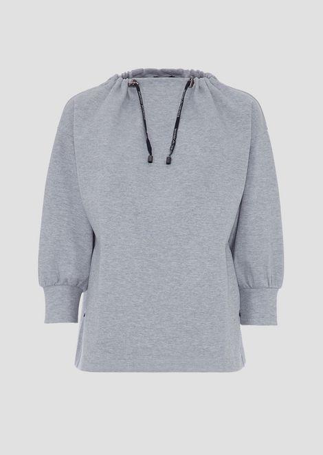 Interlock sweatshirt with neckline and logoed drawstring