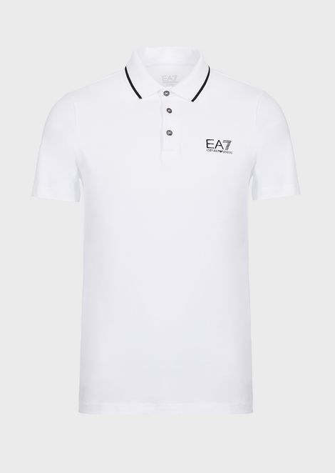 Polo de punto de algodón elástico con logotipo EA7