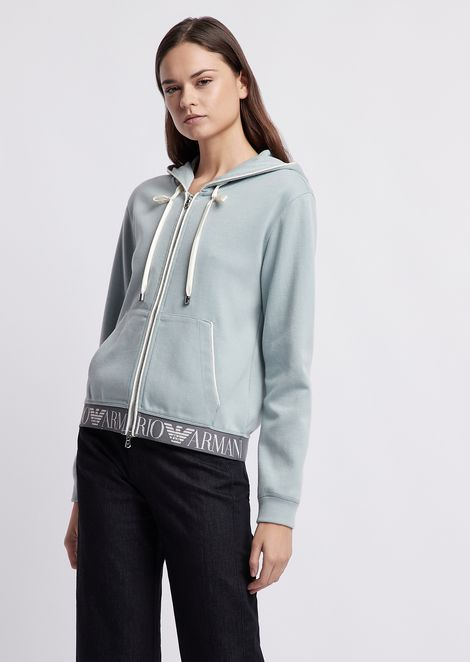 Hooded sweatshirt with logoed band on the hem