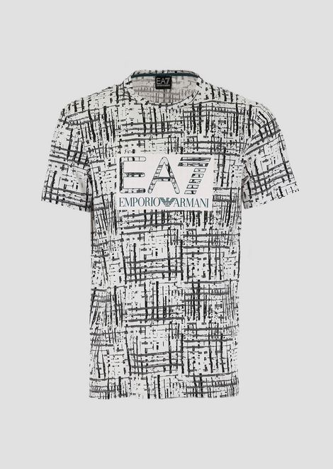 Cotton T-shirt with EA7 graphics logo