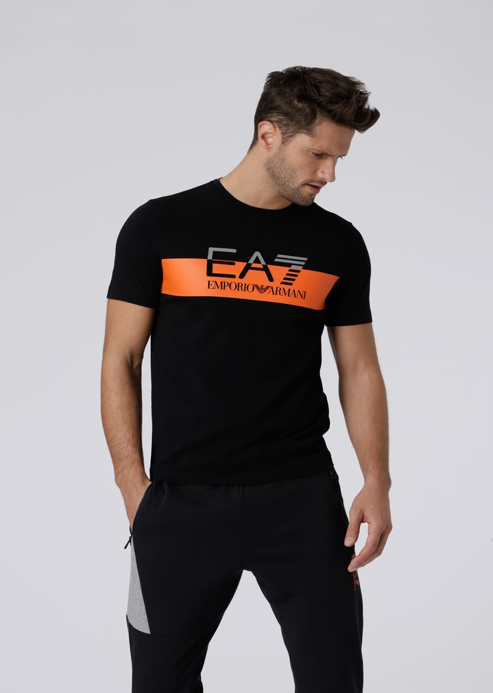 56d3d133860a Stretch cotton T-shirt with EA7 logo print | Man | Ea7