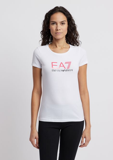 c853ca78ba083 Cotton polyester T-shirt with EA7 logo print