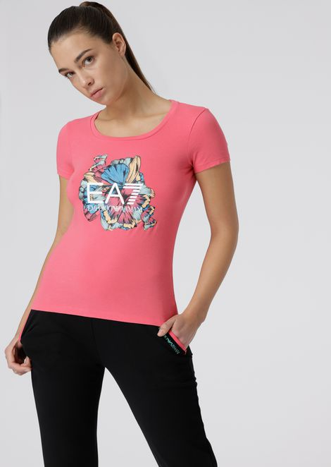 Stretch cotton T-shirt with floral print and logo