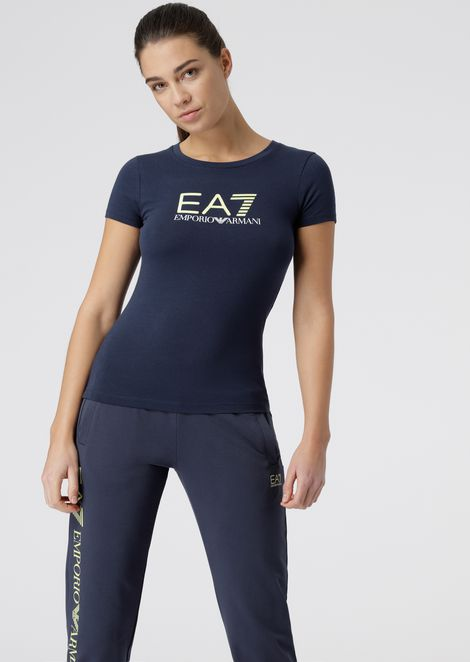 Cotton polyester T-shirt with EA7 logo print