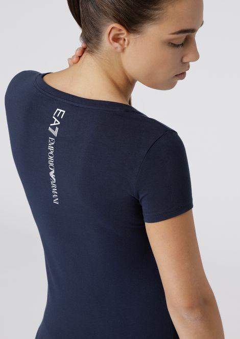 Poly cotton T-shirt with EA7 logo print