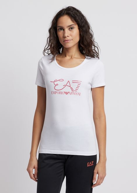 Stretch jersey T-shirt with logo decorated with studs