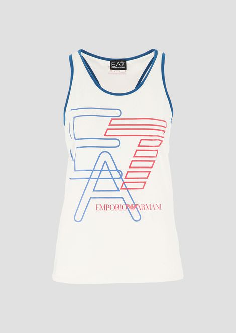 Stretch cotton vest with EA7 logo