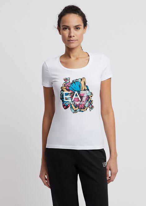 T-shirt en coton stretch avec imprimé floral et logo