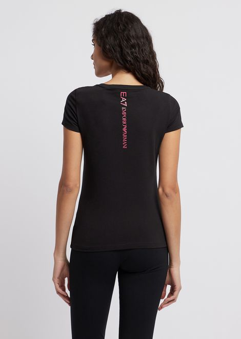 T-shirt in stretch jersey with contrast logo