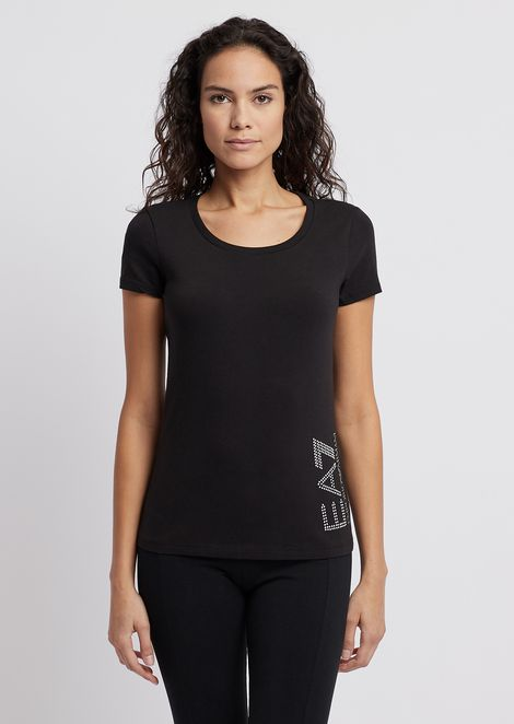 Stretch jersey T-shirt with logo