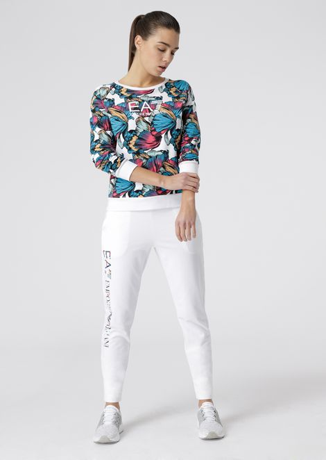 Sweatshirt with floral motif and EA7 logo print