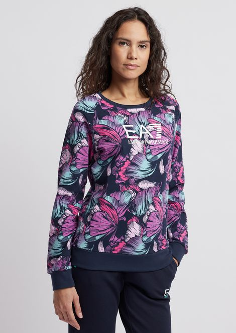 Sweatshirt with floral motif and EA7 logo
