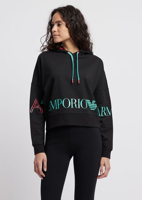 Cropped sweatshirt with hood and maxi logo