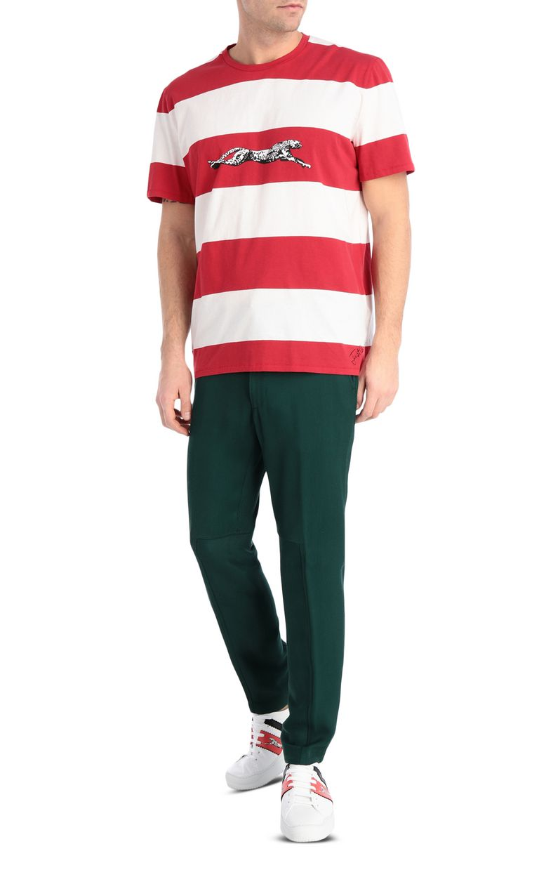JUST CAVALLI Cheetah t-shirt with stripe pattern Short sleeve t-shirt Man d