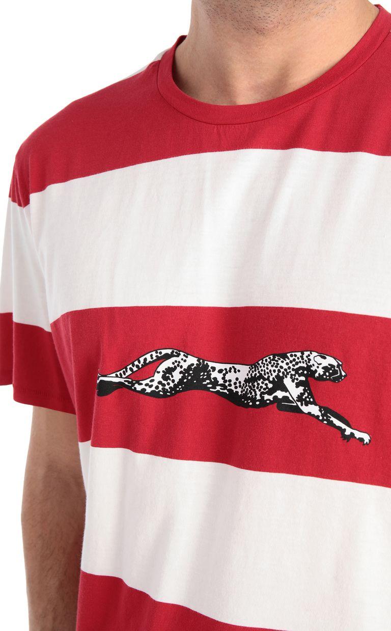 JUST CAVALLI Cheetah t-shirt with stripe pattern Short sleeve t-shirt Man e