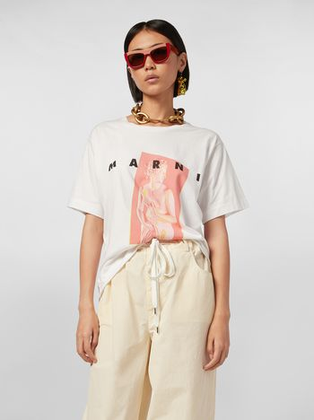 Marni White jersey T-shirt with Avery print Woman